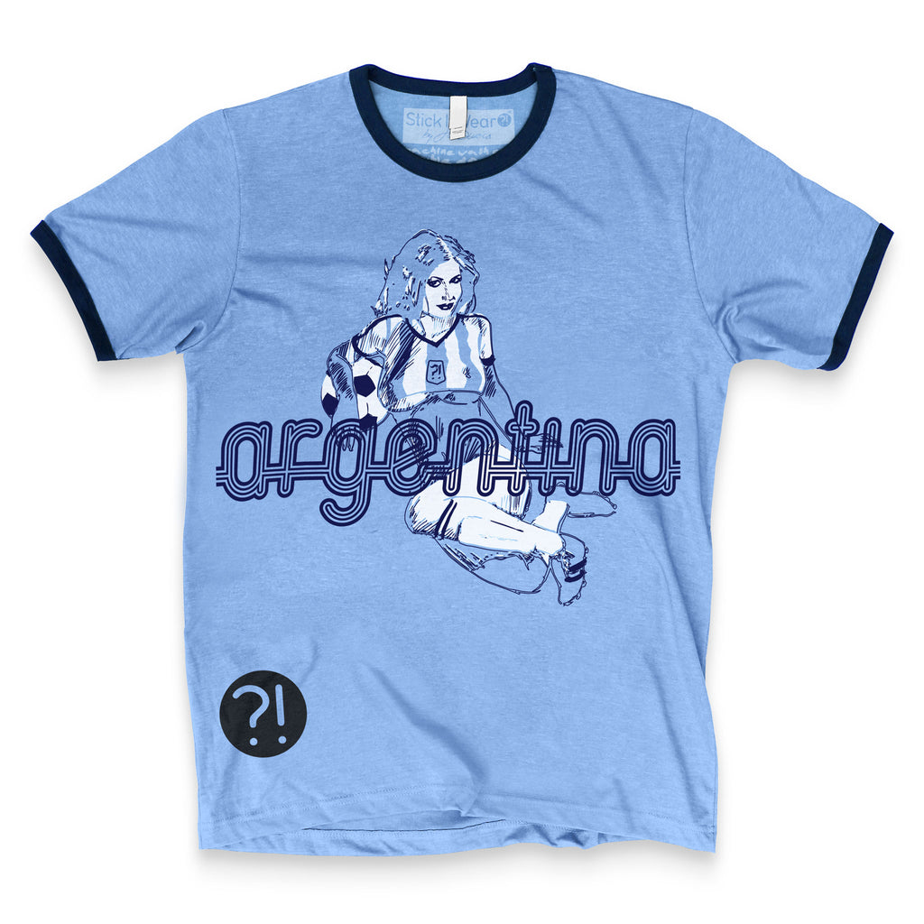 Front of Stick it Wear?! ARGENTINA Soccer Vintage Ringer t-shirt in blue.
