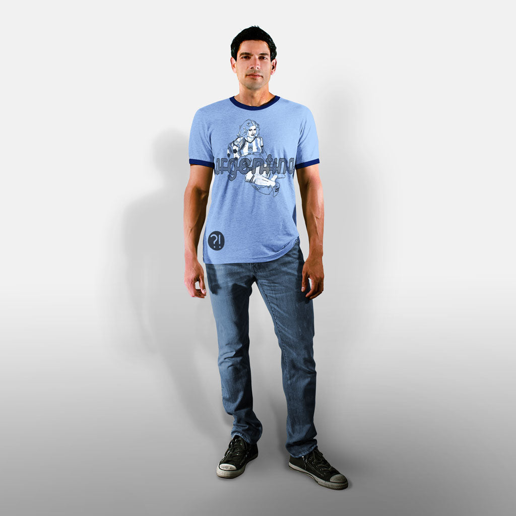 Model wearing Stick it Wear?! ARGENTINA Soccer Vintage Ringer t-shirt in blue.