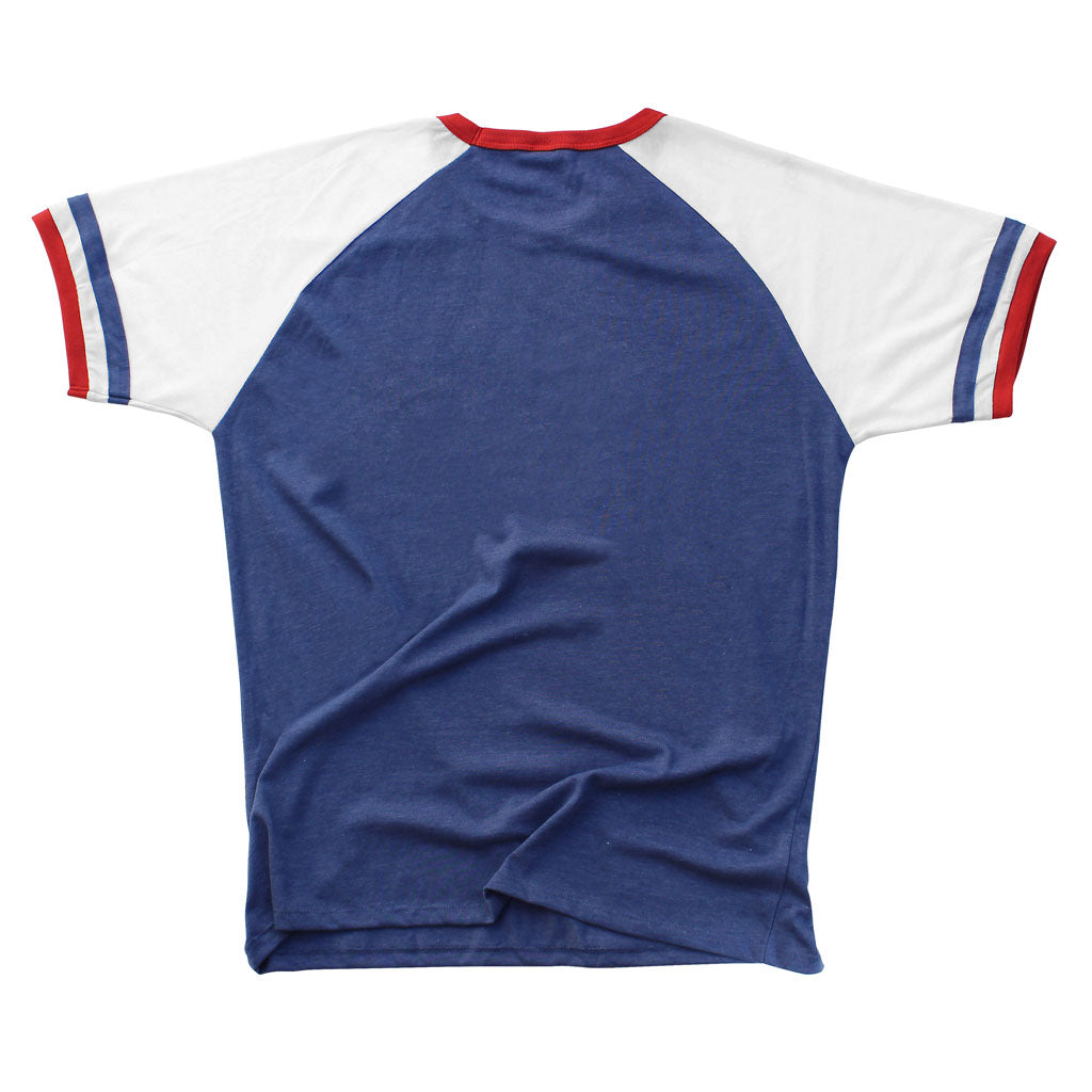 Back of Stick it Wear?! 'ATOMS '79' vintage style Japan league baseball t-shirt in blue.