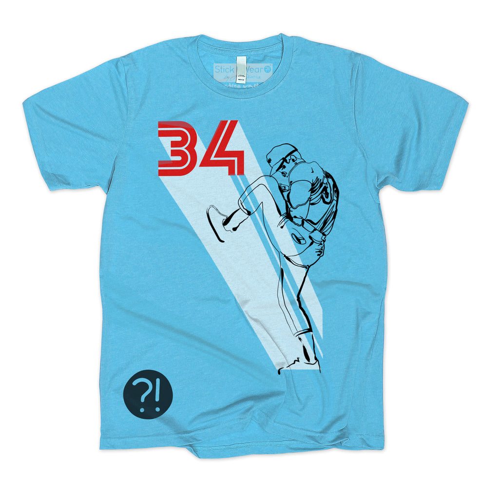 Front of Stick it Wear?! 'BASEBALL BUNCH' crew baseball t-shirt in blue.