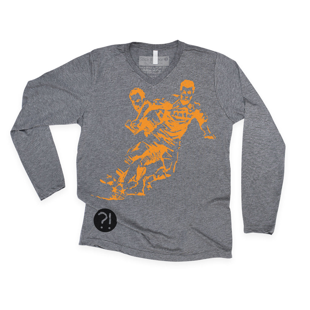 Front of Stick it Wear?! 'BEAUTIFUL GAME' Soccer V-Neck long shirt in heather gray.