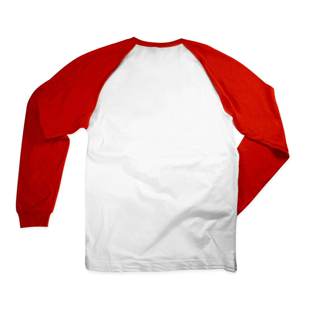 Back of Stick It Wear?! 'BLACKGOLD' Starting-lineup long shirt in white with red sleeves.