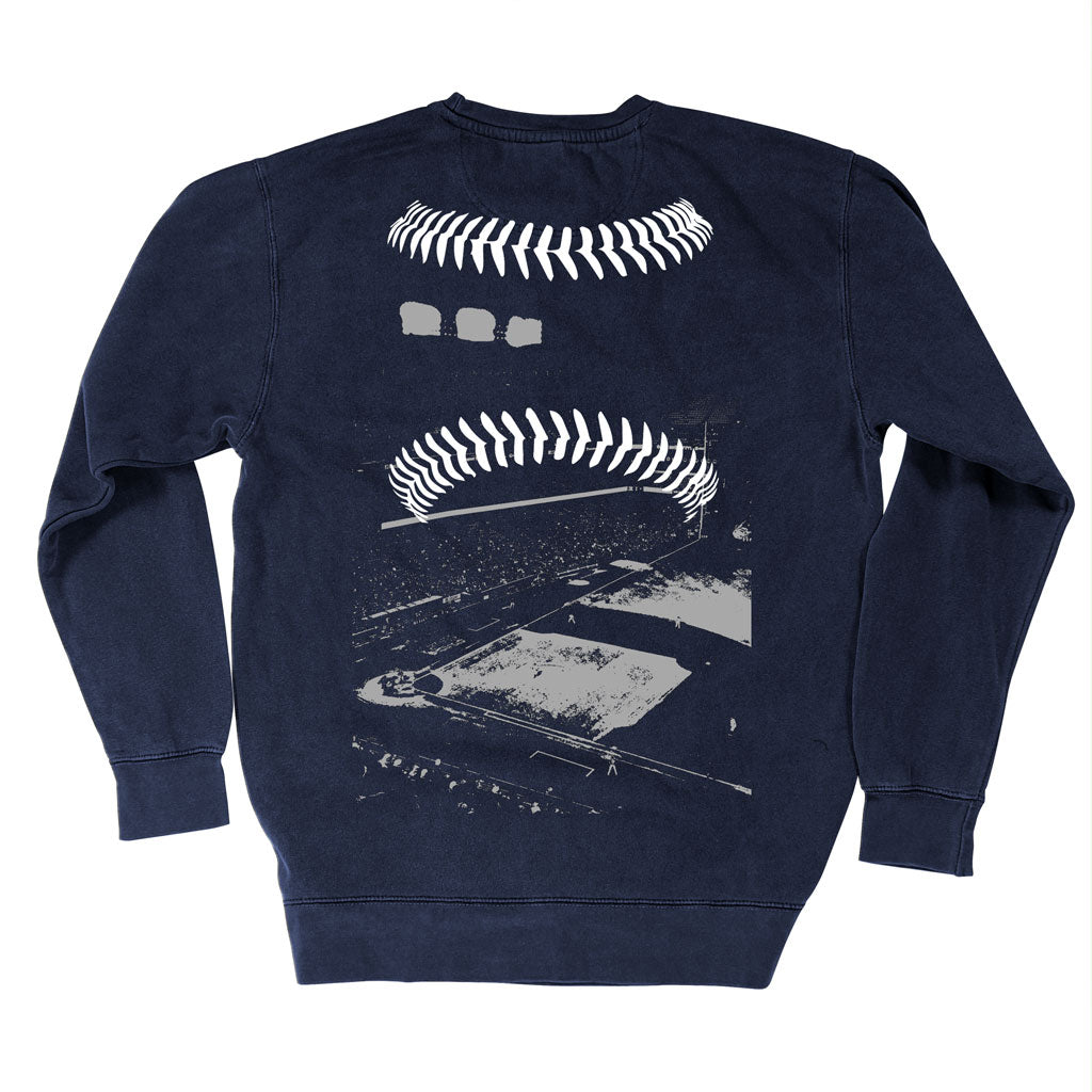 Back of Stick it Wear?! 'BOROUGH BALL' baseball Front Office sweatshirt in navy.