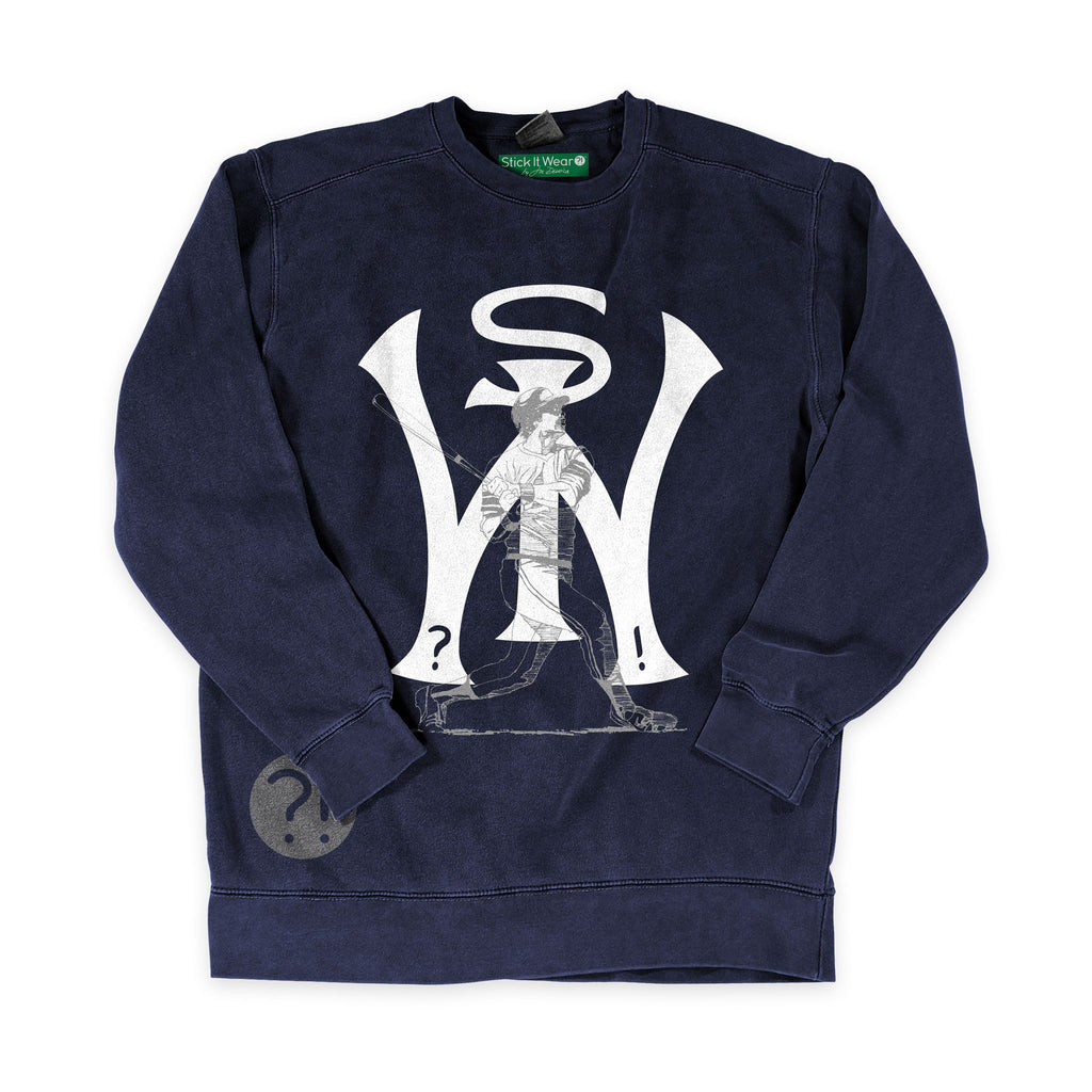 Front of Stick it Wear?! 'BOROUGH BALL' baseball Front Office sweatshirt in navy.