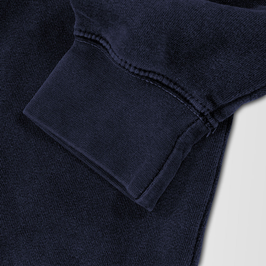 Sleeve of Stick it Wear?! 'BOROUGH BALL' baseball Front Office sweatshirt in navy.