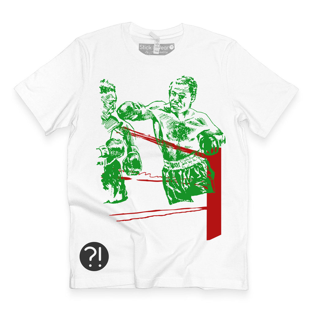 Front of Stick It Wear?! 'BOXEO' tee in white.