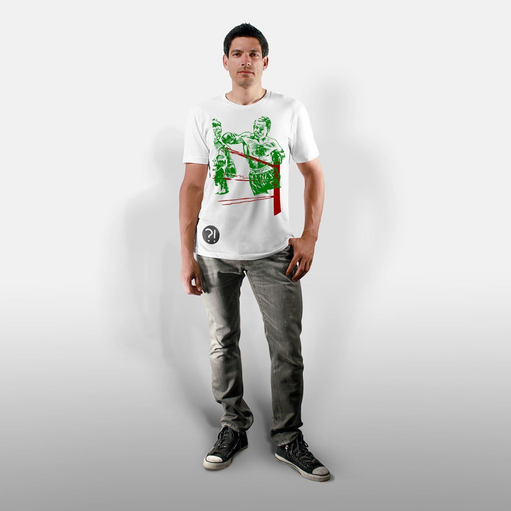 Model wearing Stick It Wear?! 'BOXEO' tee in white.