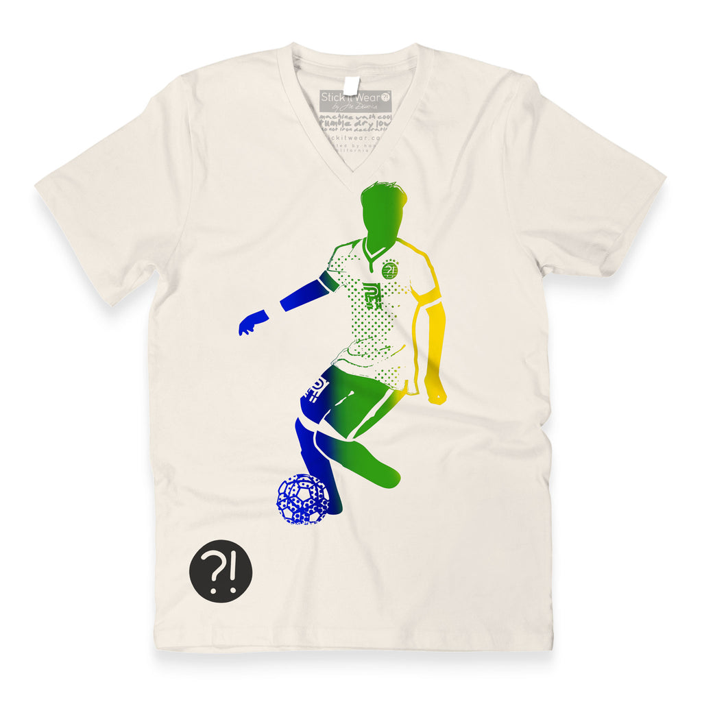 Front of Stick It Wear?! 'BRASILNOVA' Soccer V-Neck t-shirt in natural.