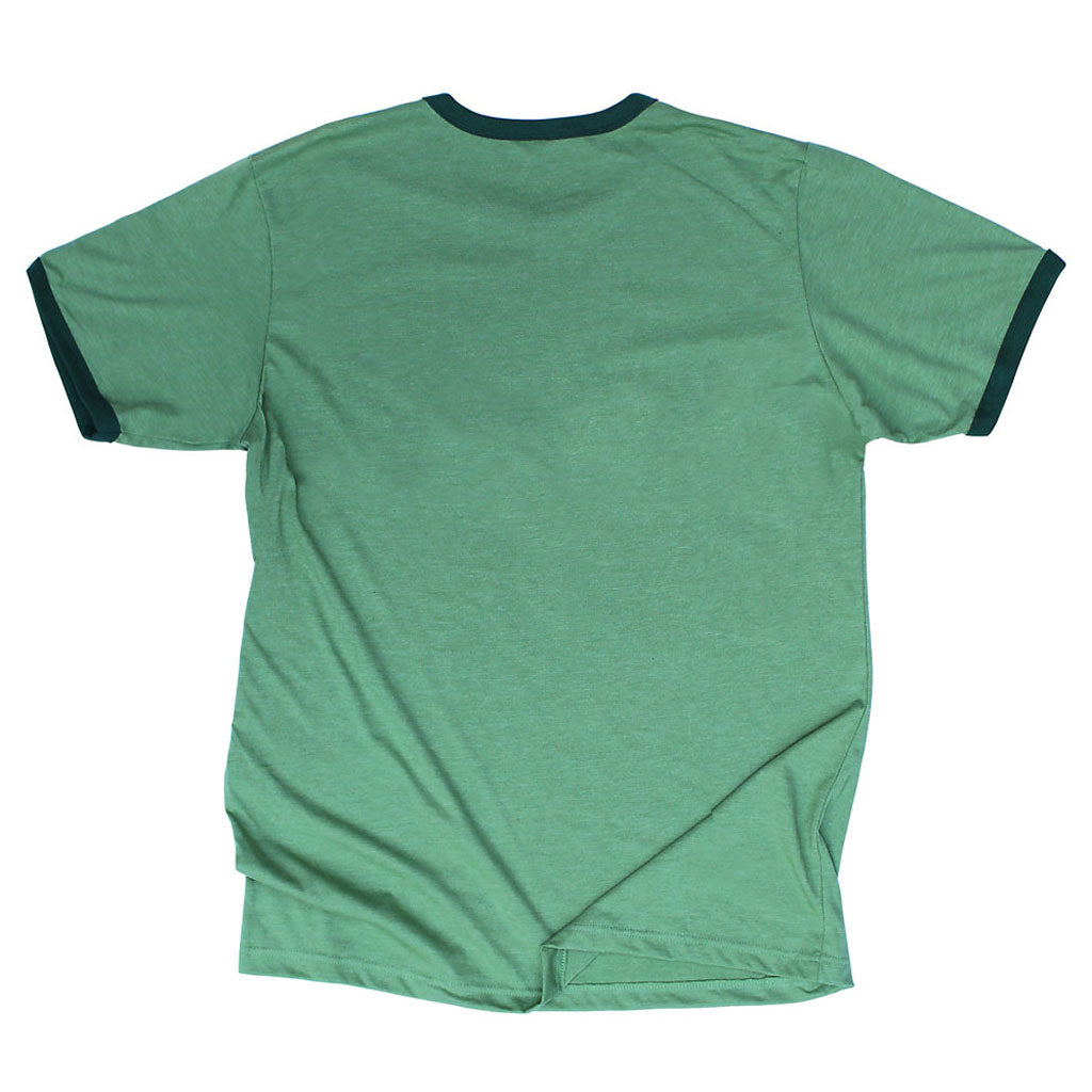 Back of Stick it Wear?! BRASIL Soccer Vintage Ringer t-shirt in green.
