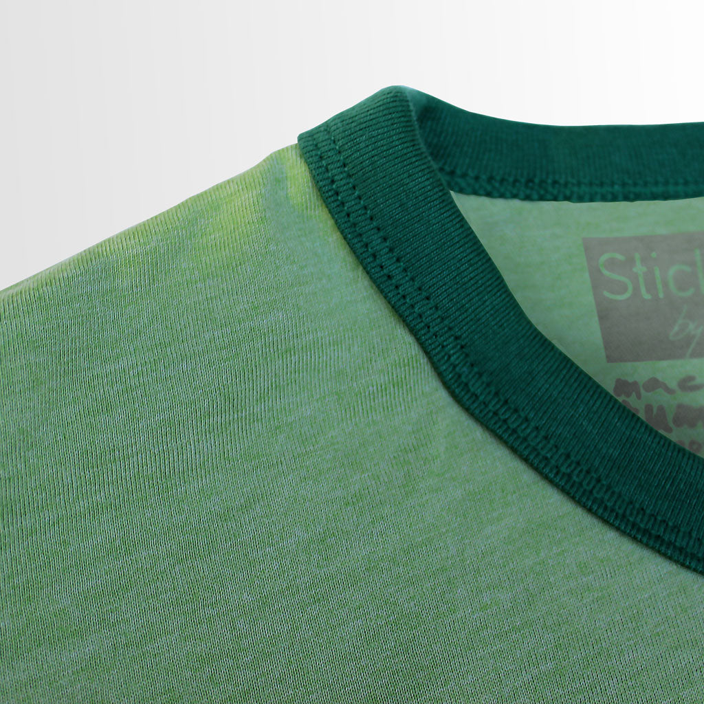 Collar of Stick it Wear?! BRASIL Soccer Vintage Ringer t-shirt in green.