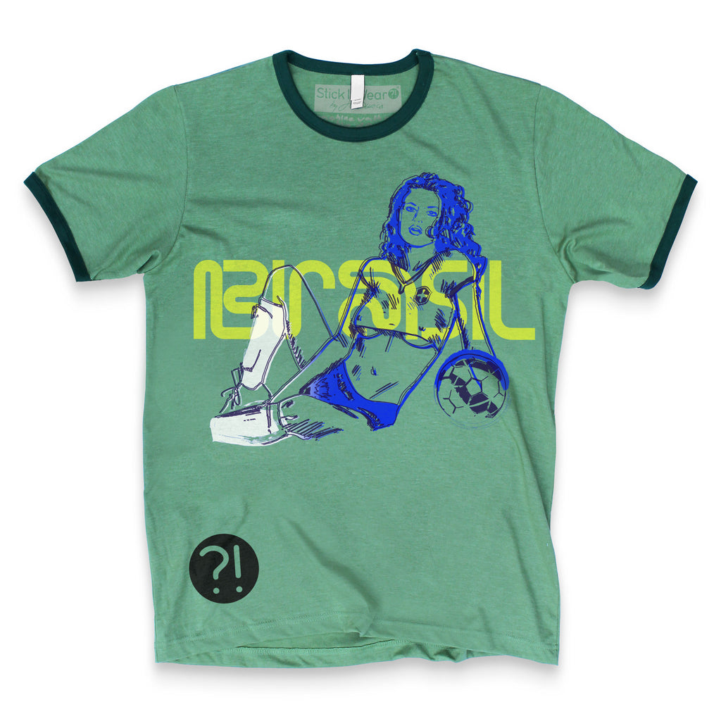 Front of Stick it Wear?! BRASIL Soccer Vintage Ringer t-shirt in green.