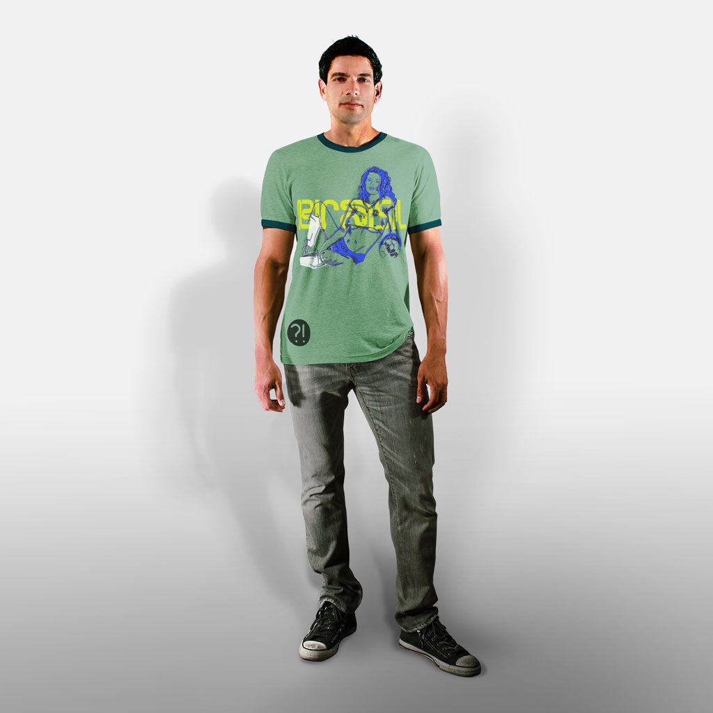 Model wearing Stick it Wear?! BRASIL Soccer Vintage Ringer t-shirt in green.