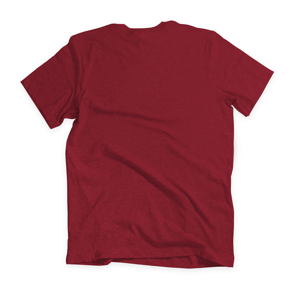 Back of Stick it Wear?! 'BRUISED KNEE' football crew t-shirt in cardinal.