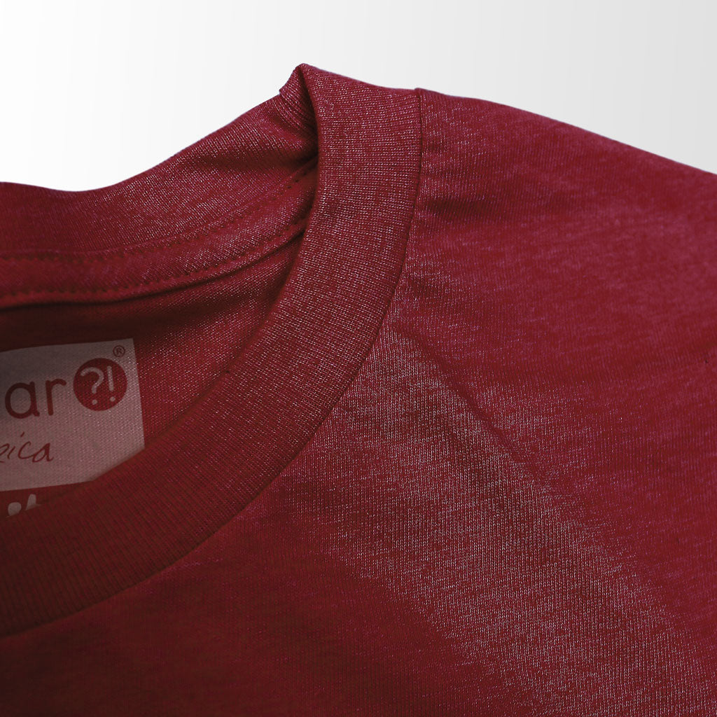 Collar of Stick it Wear?! 'BRUISED KNEE' football crew t-shirt in cardinal.