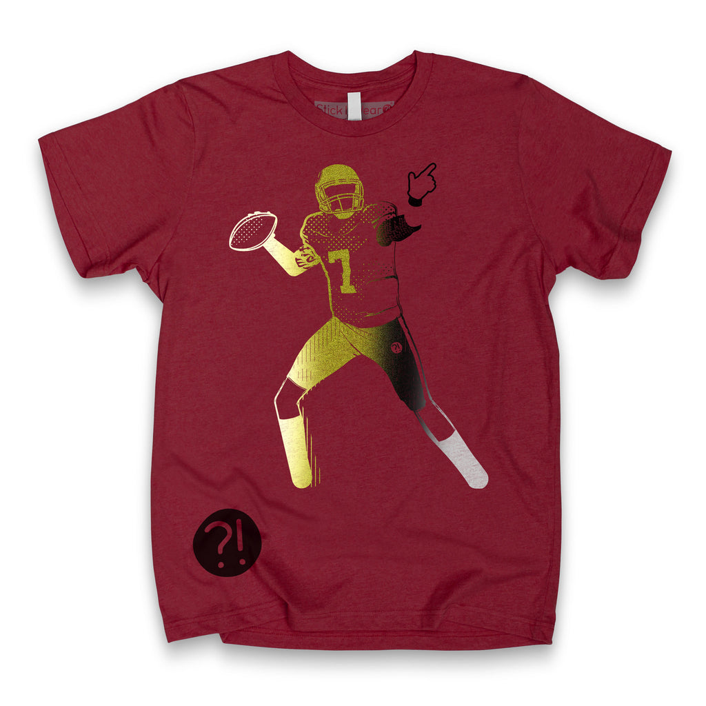 Front of Stick it Wear?! 'BRUISED KNEE' football crew t-shirt in cardinal.