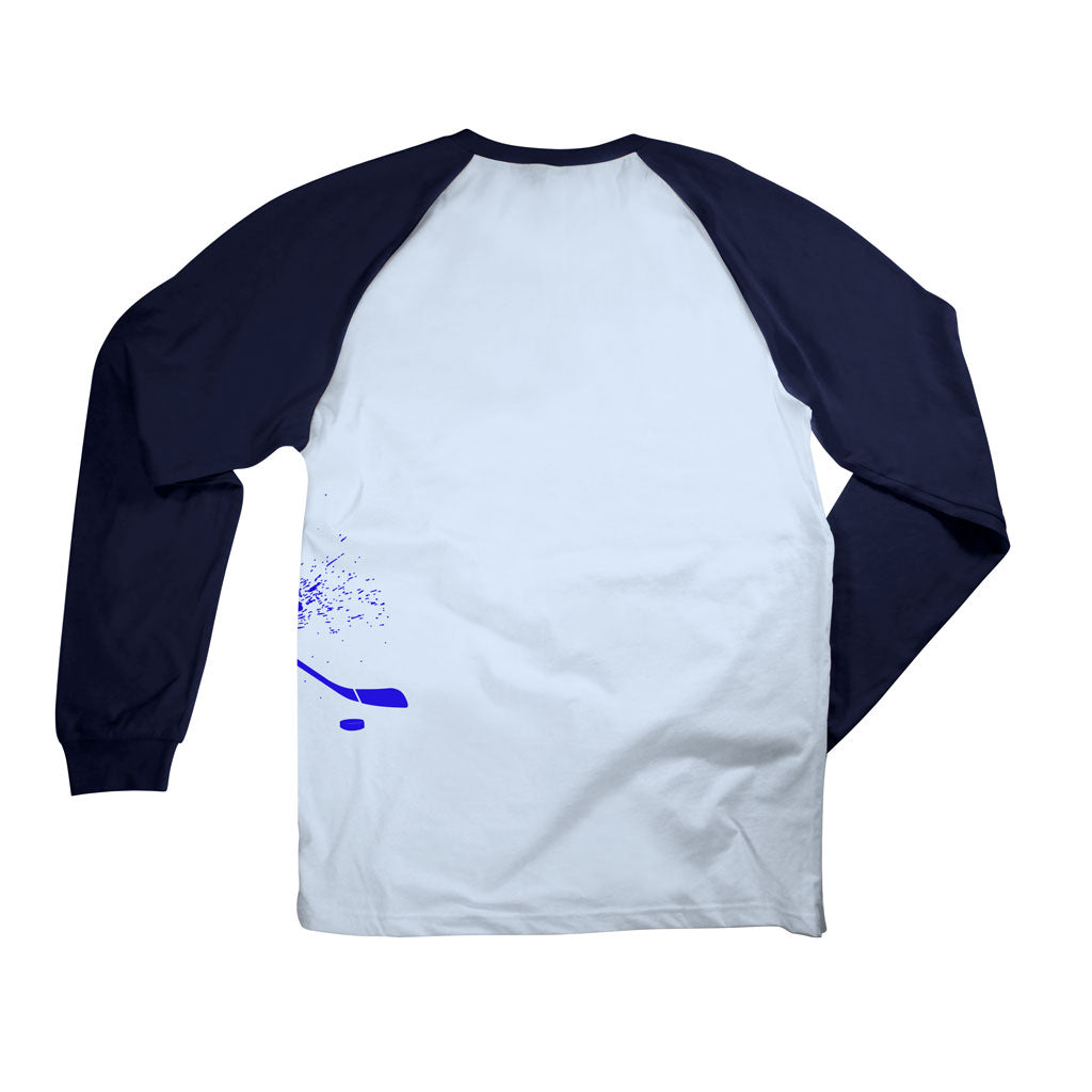 Back of Stick It Wear?! 'BUDDING STAR' Starting-lineup long shirt in blue with navy sleeves.