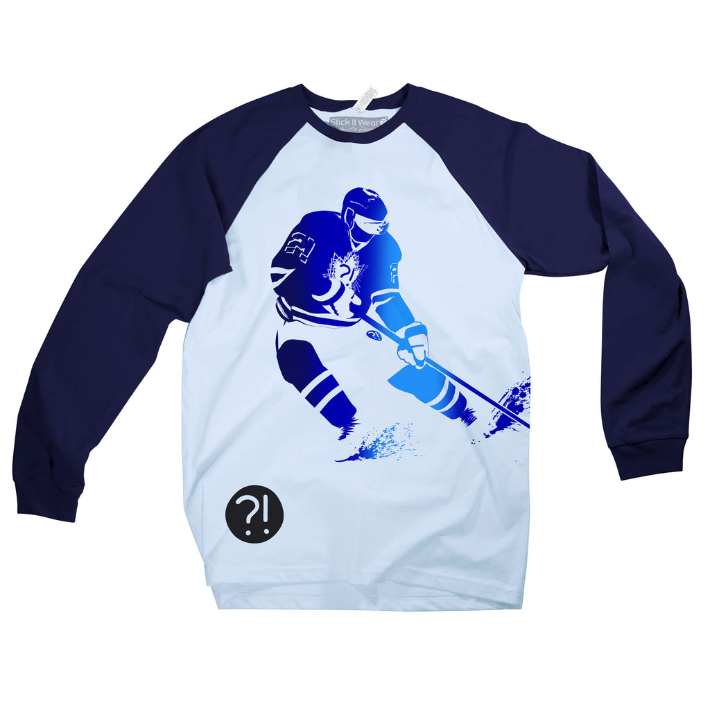Front of Stick It Wear?! 'BUDDING STAR' Starting-lineup long shirt in blue with navy sleeves.