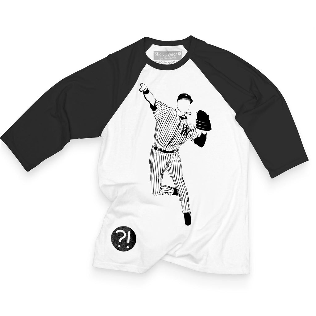 Front of Stick it Wear?! 'CAPTAIN NOVEMBER' baseball practice t-shirt in white with black sleeves.