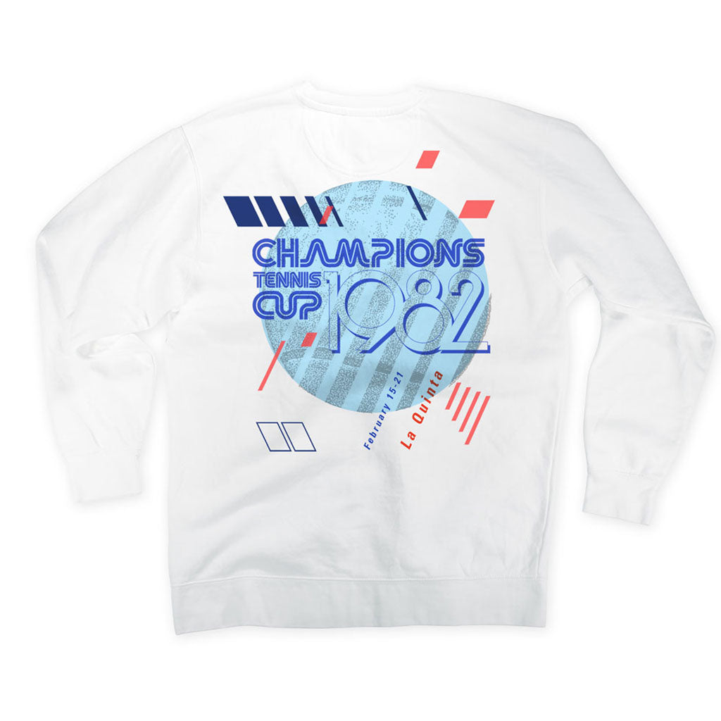 Back of Stick it Wear?! 'CHAMPIONS CUP' Tennis Front Office sweatshirt in white.