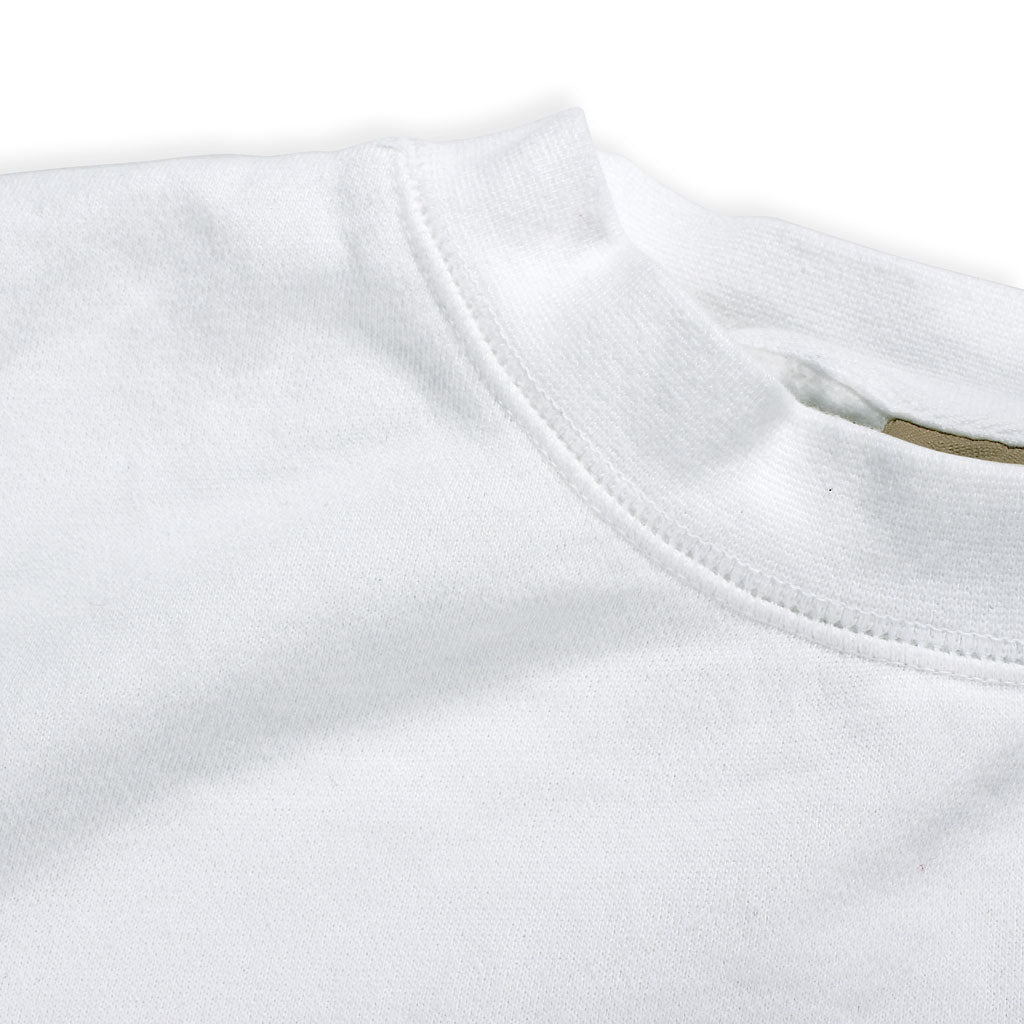 Collar of Stick it Wear?! 'CHAMPIONS CUP' Tennis Front Office sweatshirt in white.
