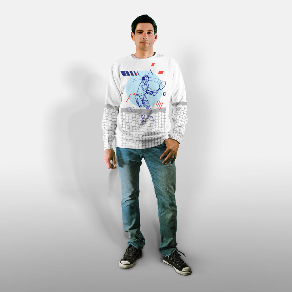 Model wearing Stick it Wear?! 'CHAMPIONS CUP' Tennis Front Office sweatshirt in white.
