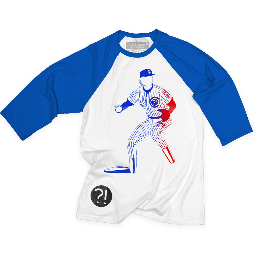 Front of Stick it Wear?! 'CHARGING' baseball practice t-shirt in white with red sleeves.