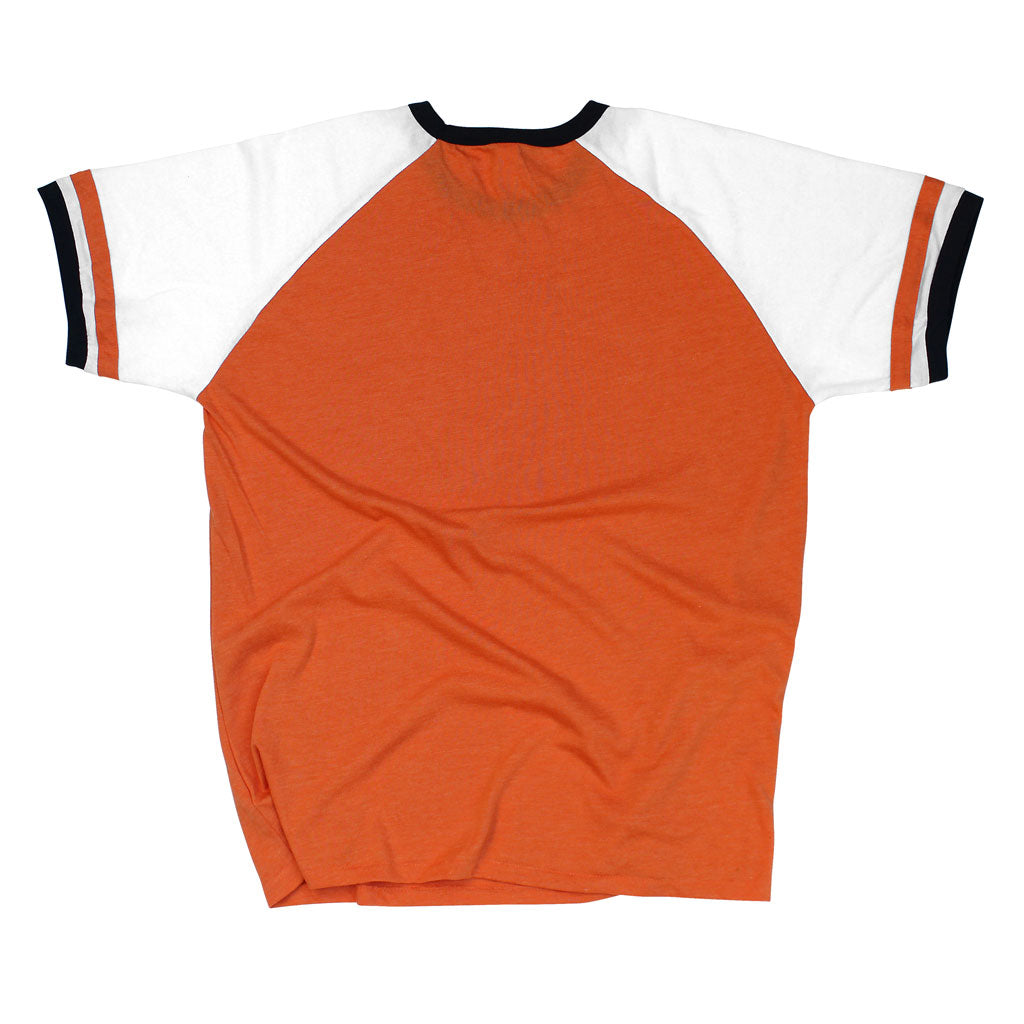 Back of Stick it Wear?! 'CHIBA '94' vintage style Japan league baseball t-shirt in orange.