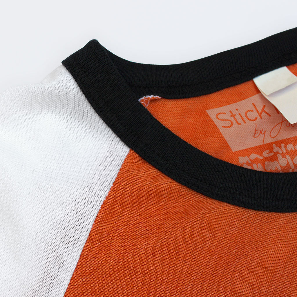 Collar of Stick it Wear?! 'CHIBA '94' vintage style Japan league baseball t-shirt in orange.
