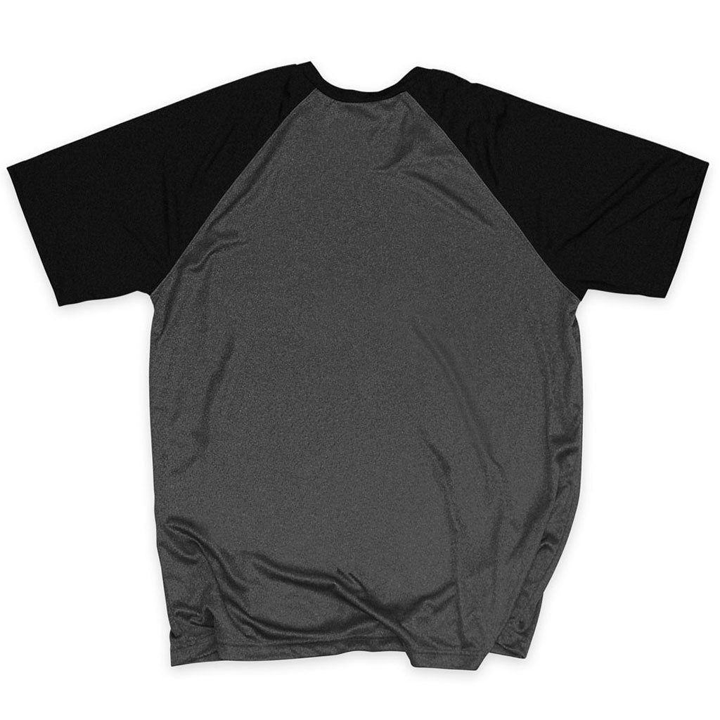 Back of Stick it Wear?! 'CHOSEN ONE' Soccer Performance Crew in heather gray with black shoulders.