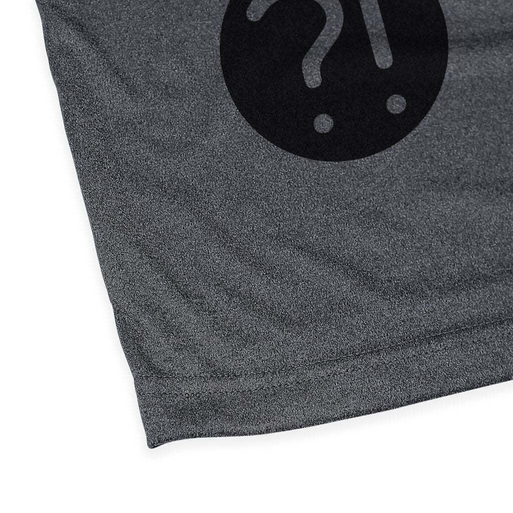 Bottom hem of Stick it Wear?! 'CHOSEN ONE' Soccer Performance Crew in heather gray with black shoulders.