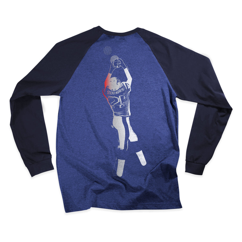 Back of Stick It Wear?! COLONIAL Starting-lineup long shirt in blue heather with navy sleeves.