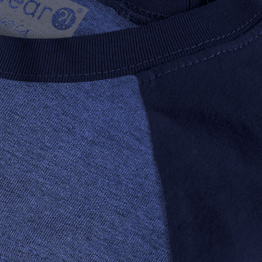 Collar of Stick It Wear?! COLONIAL Starting-lineup long shirt in blue heather with navy sleeves.