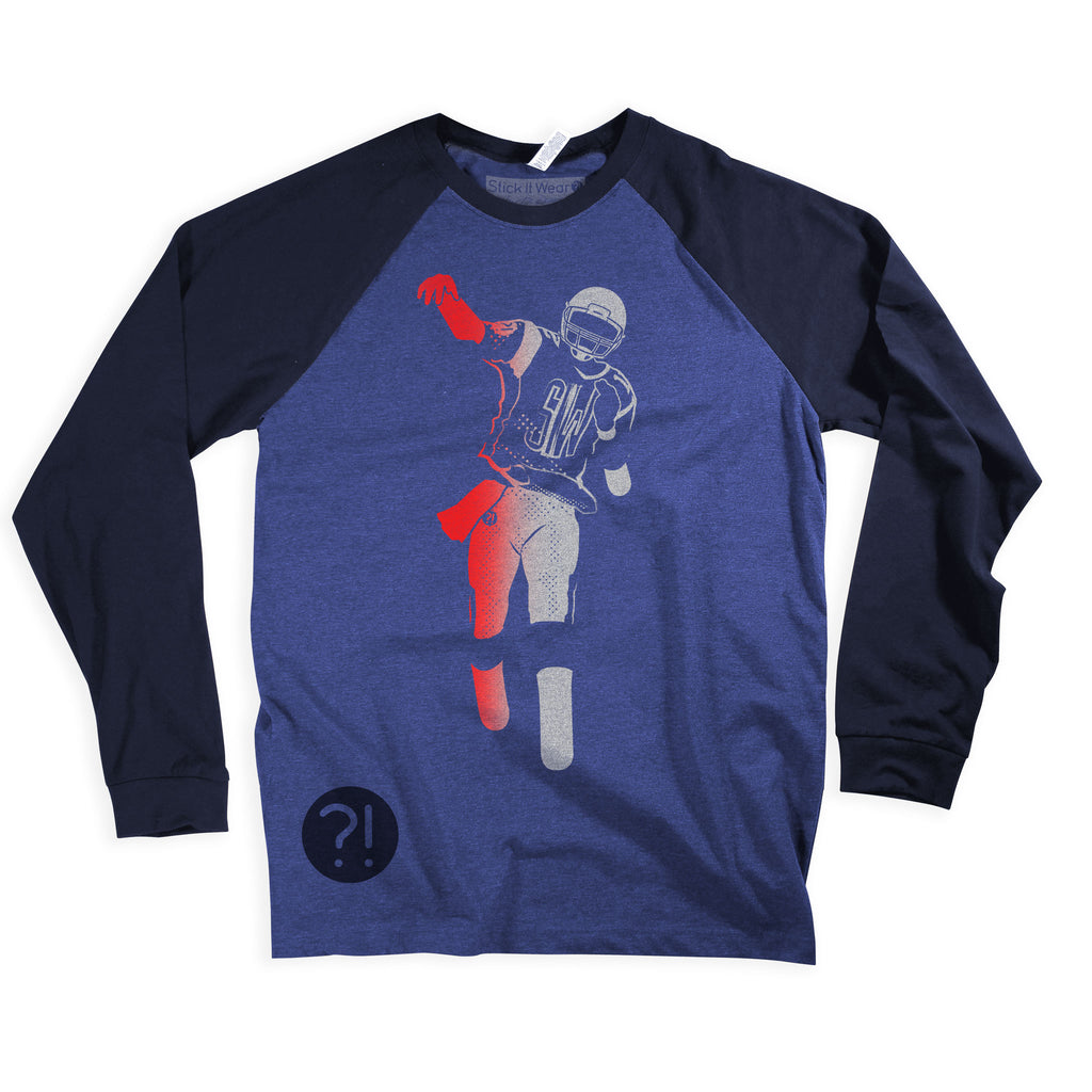 Front of Stick It Wear?! COLONIAL Starting-lineup long shirt in blue heather with navy sleeves.