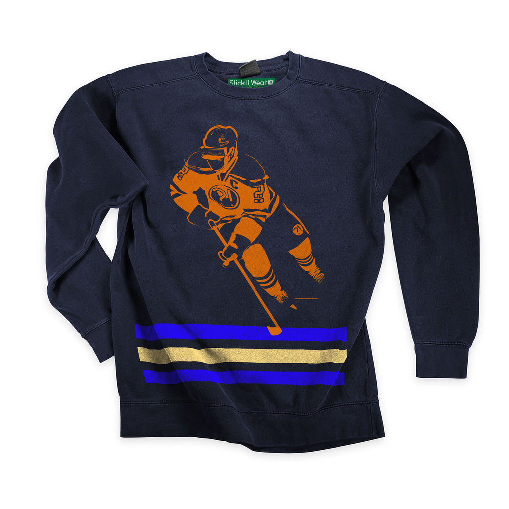 Front of Stick it Wear?! 'DANCE BOY' Hockey Front Office sweatshirt in navy.