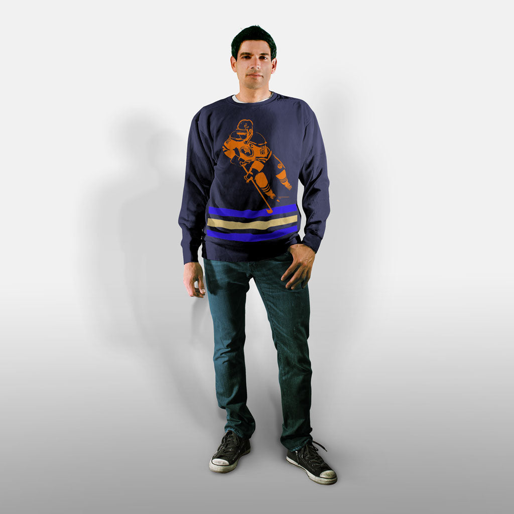 Model wearing Stick it Wear?! 'DANCE BOY' Hockey Front Office sweatshirt in navy.