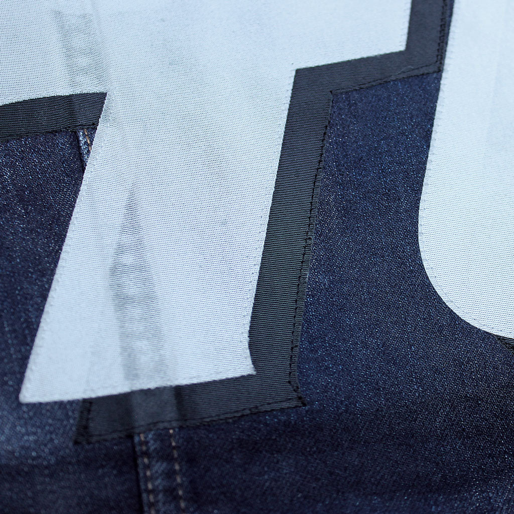Back detail of Stick It Wear?! 'No 40' Custom Hockey Style Denim Jacket in navy.