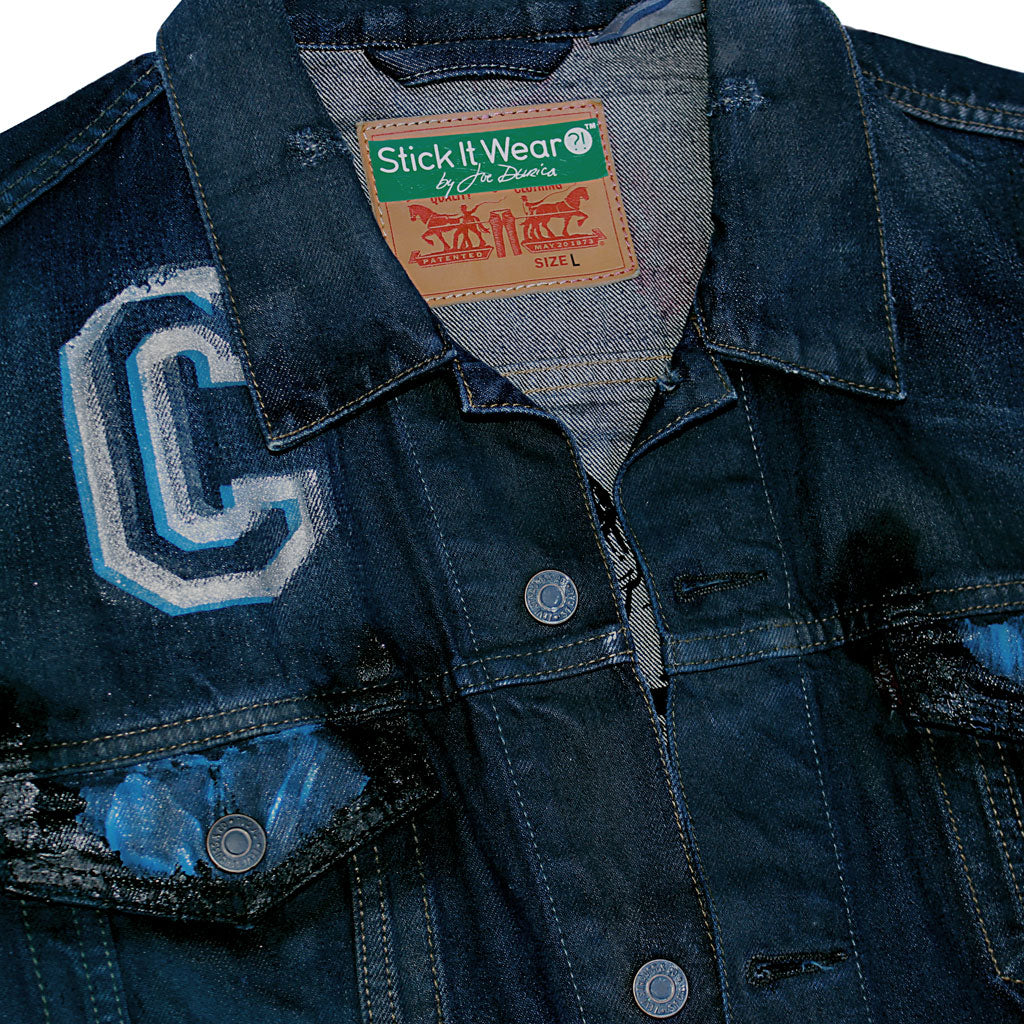 Front collar of Stick It Wear?! 'No 40' Custom Hockey Style Denim Jacket in navy.