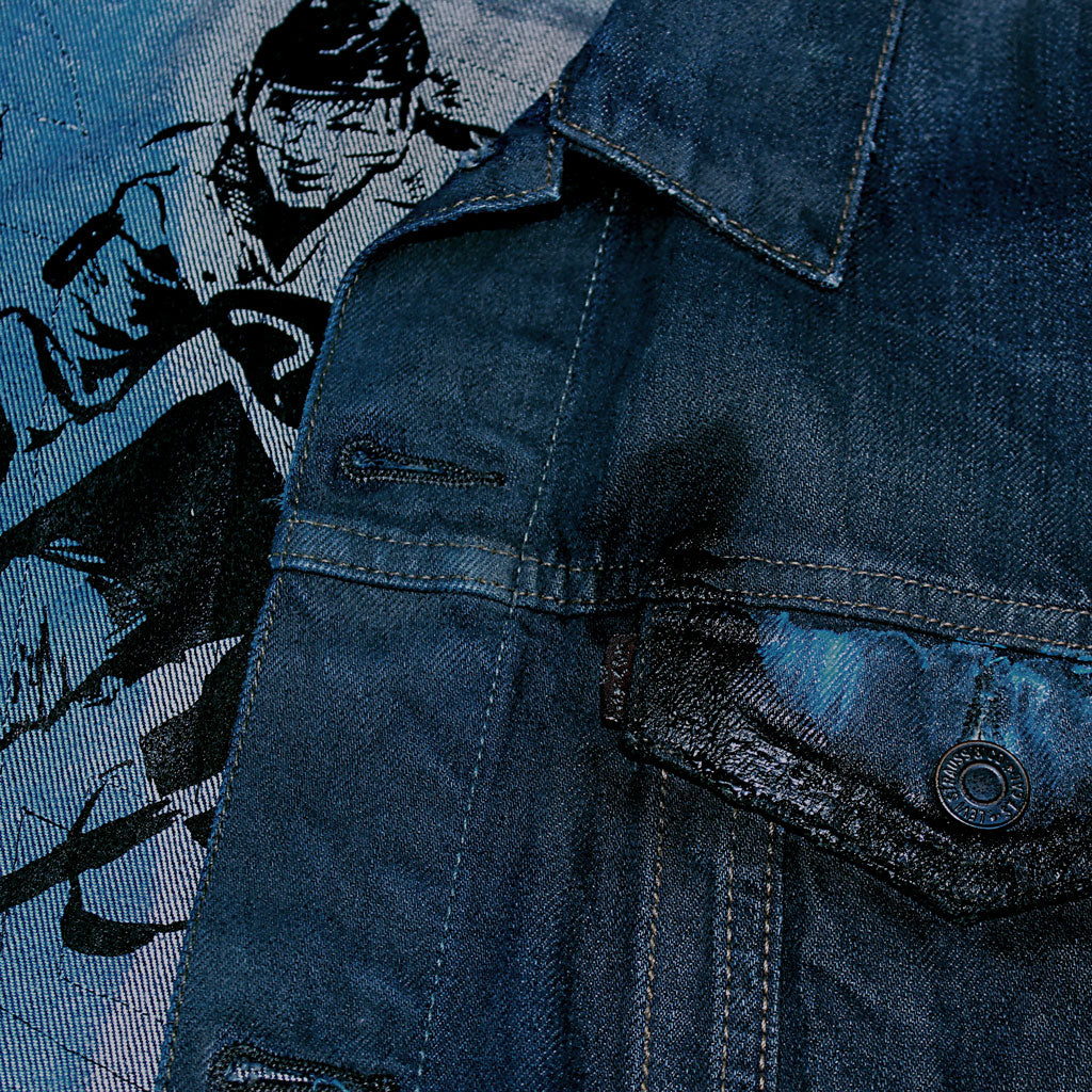 Collar of Stick It Wear?! 'No 40' Custom Hockey Style Denim Jacket in navy.