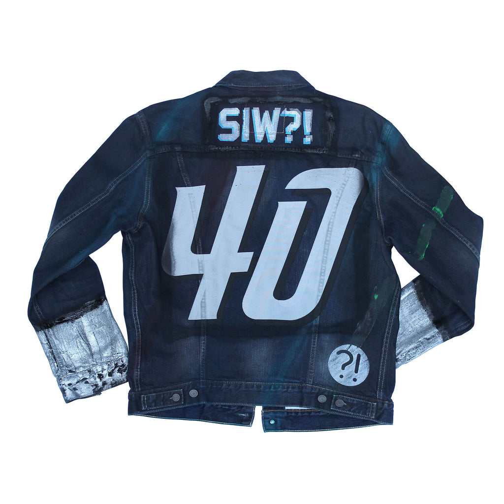 Back of Stick It Wear?! 'No 40' Custom Hockey Style Denim Jacket in navy.