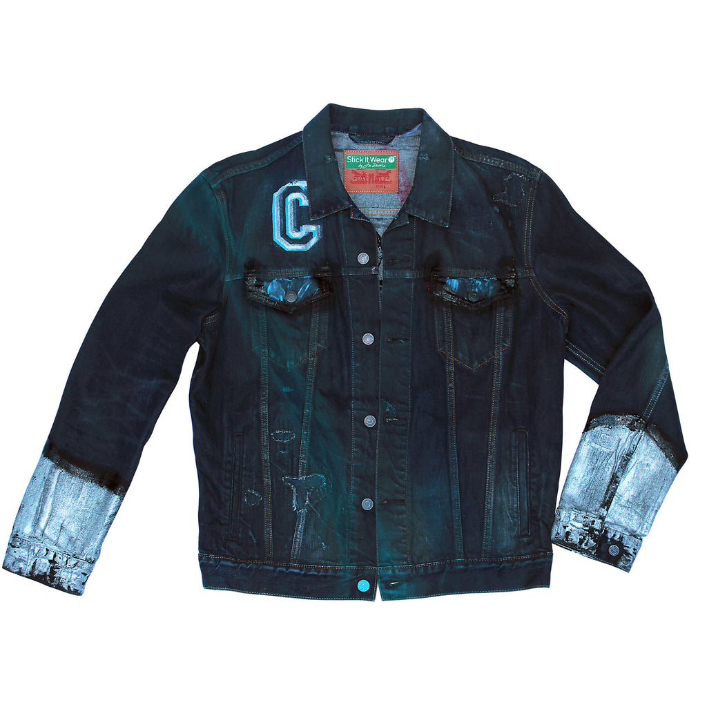 Front of Stick It Wear?! 'No 40' Custom Hockey Style Denim Jacket in navy.