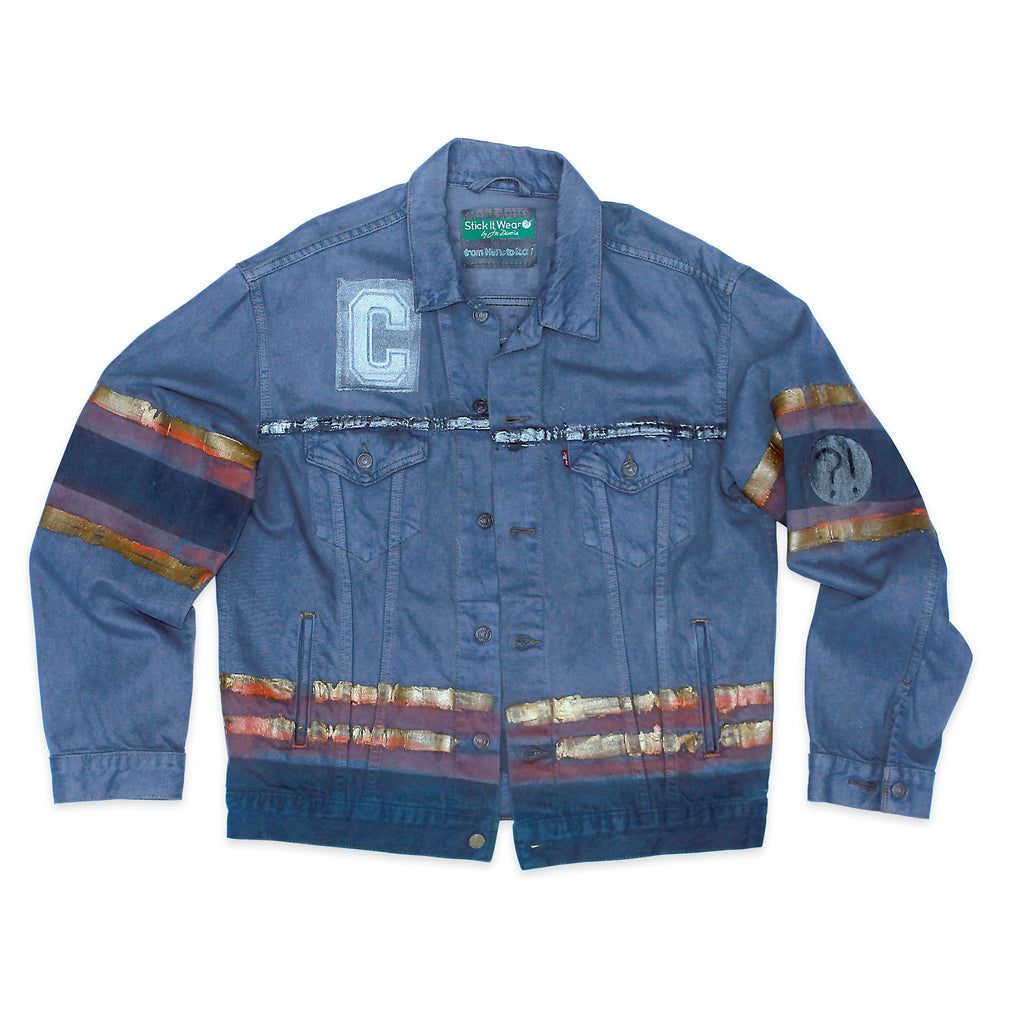 Front of Stick It Wear?! 'No 65' Custom Hockey Style Denim Jacket in blue with jersey numbers.
