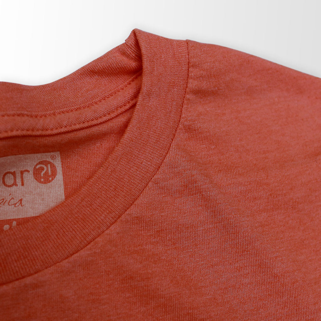 Collar of Stick It Wear?! 'DIRT LIGHTNING' tennis tee in clay brown.