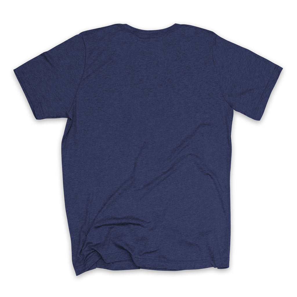 Back of Stick It Wear?! 'DJOKO UNO' First Serve Tee in navy.