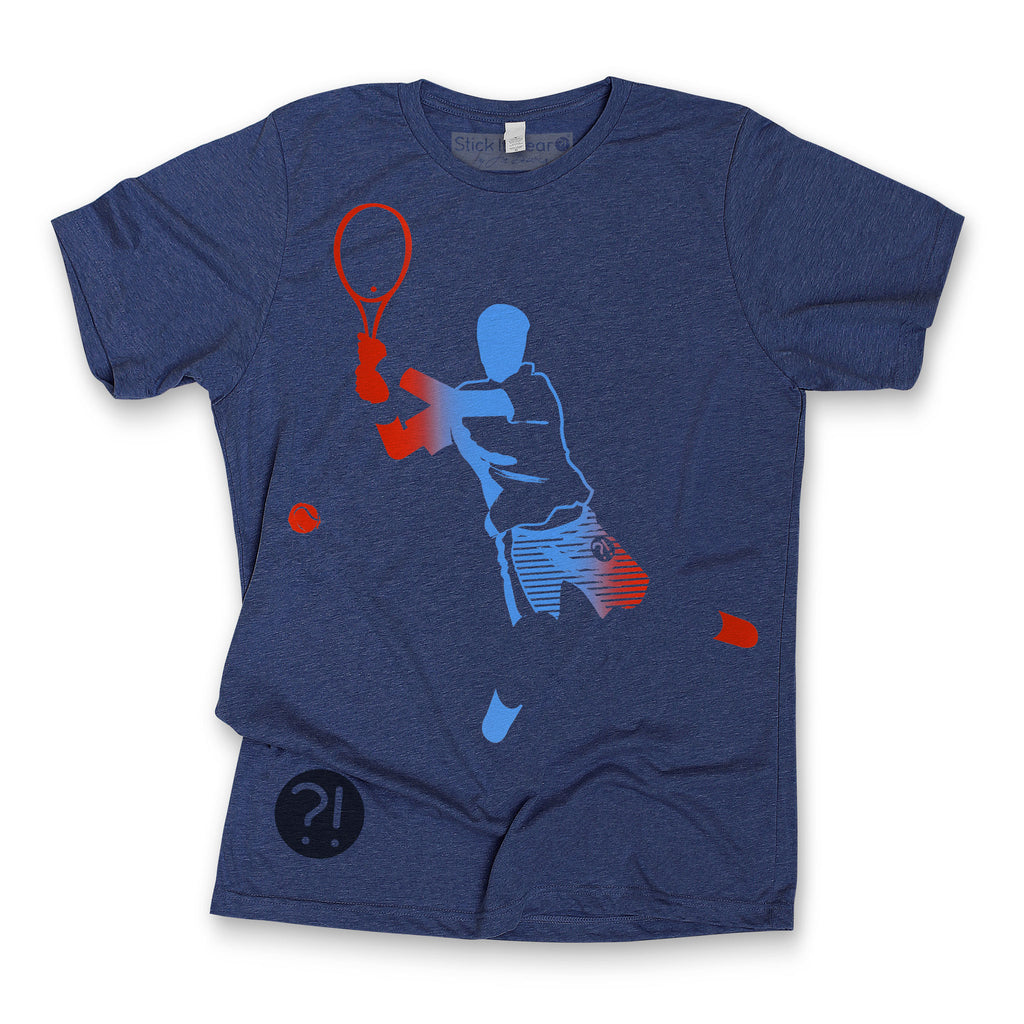 Front of Stick It Wear?! 'DJOKO UNO' First Serve Tee in navy.