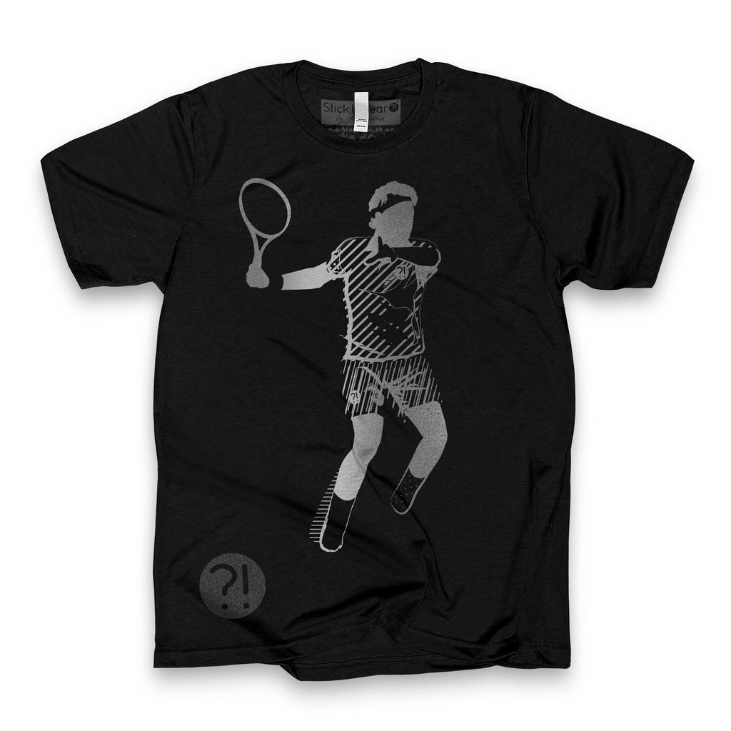 Front of Stick It Wear?! 'ERER' First Serve Tennis Tee in black.
