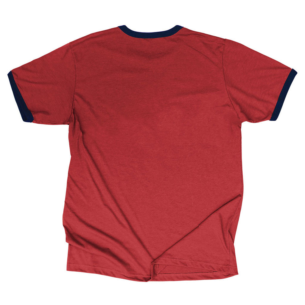 Back of Stick it Wear?! ESPANA Soccer Vintage Ringer t-shirt in cardinal red.