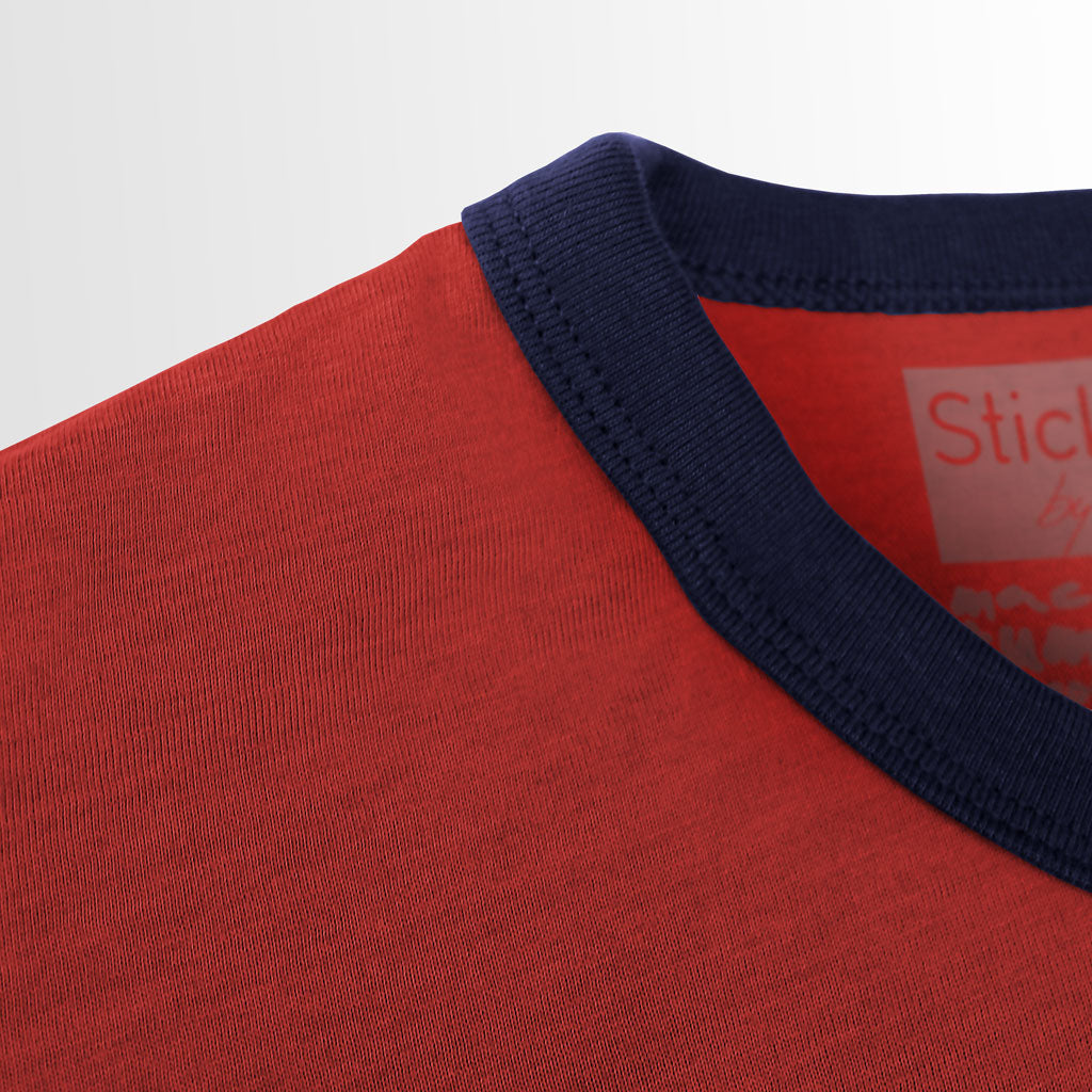 Collar of Stick it Wear?! ESPANA Soccer Vintage Ringer t-shirt in cardinal red.