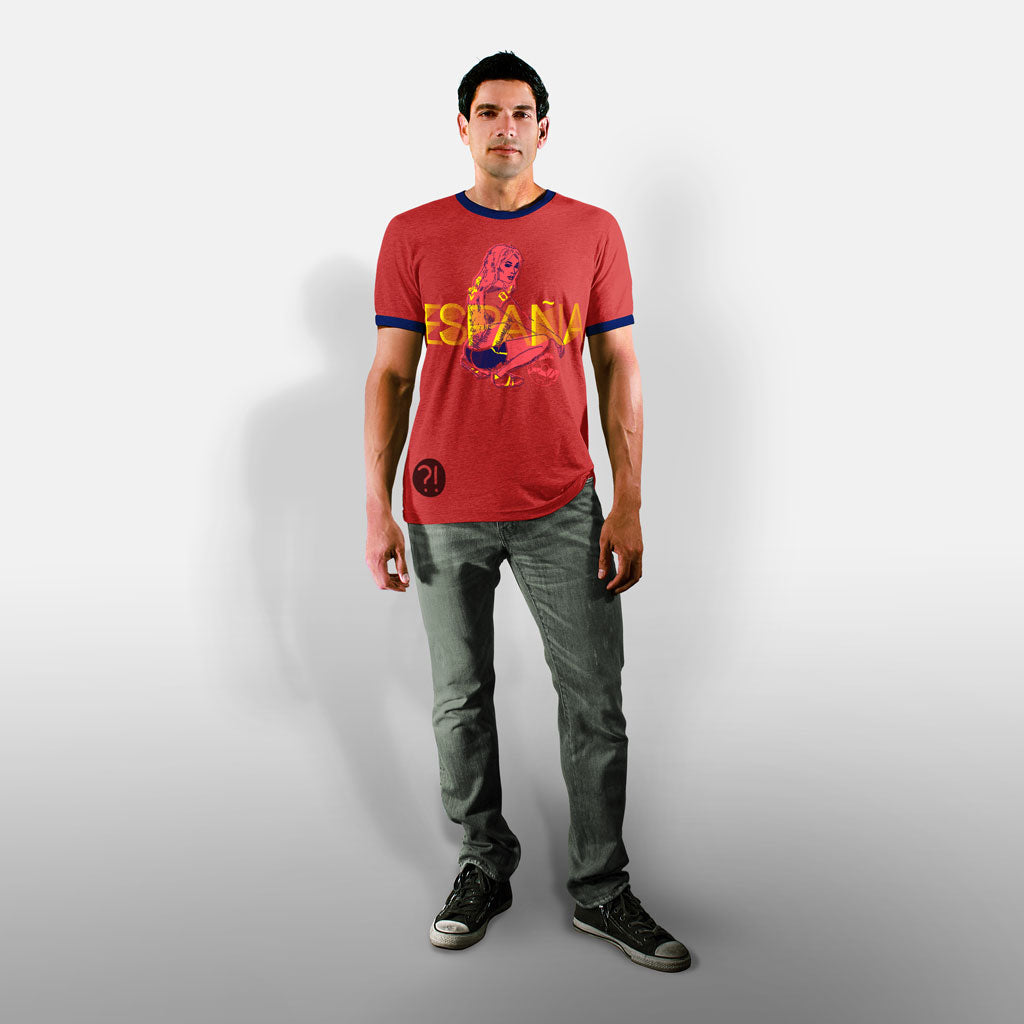 Model wearing Stick it Wear?! ESPANA Soccer Vintage Ringer t-shirt in cardinal red.