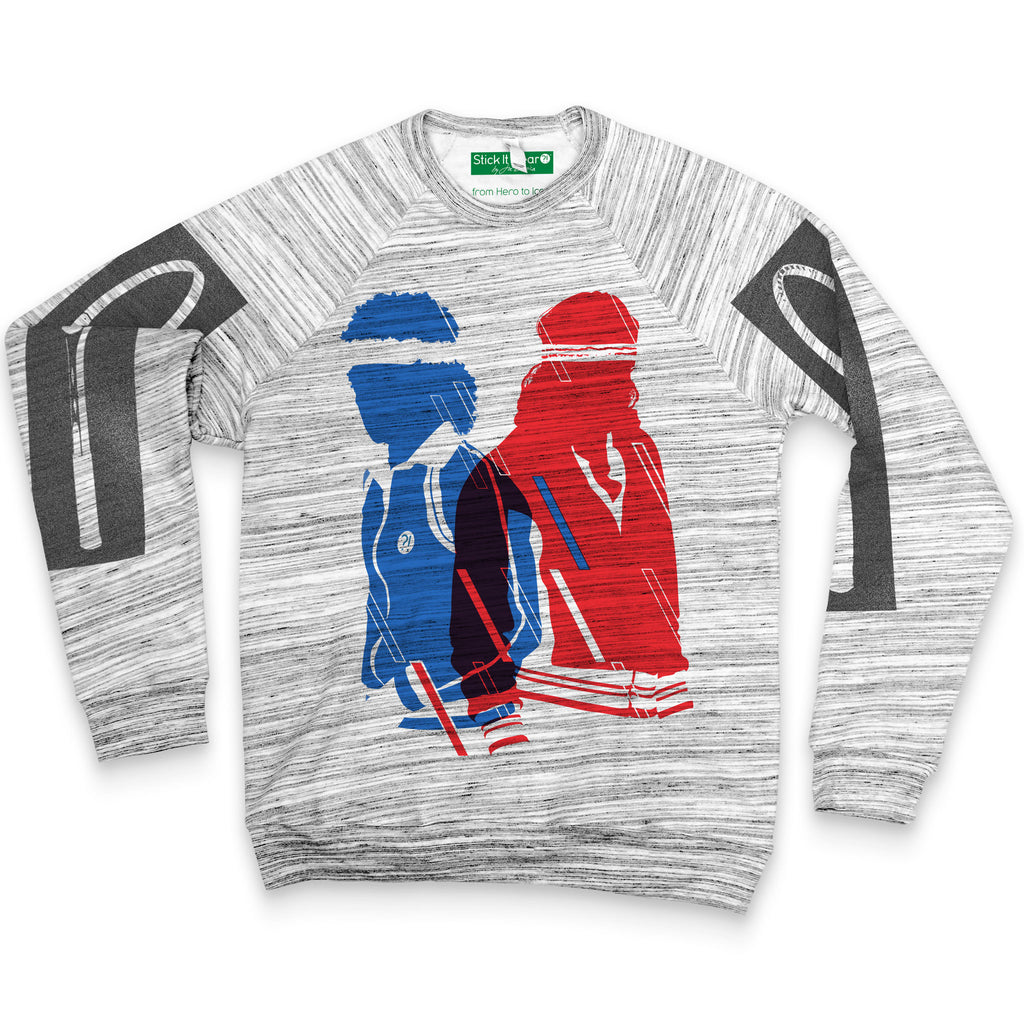 Front of Stick it Wear?! 'FIRE vs ICE' Tennis Fleece Sweater in marble gray.