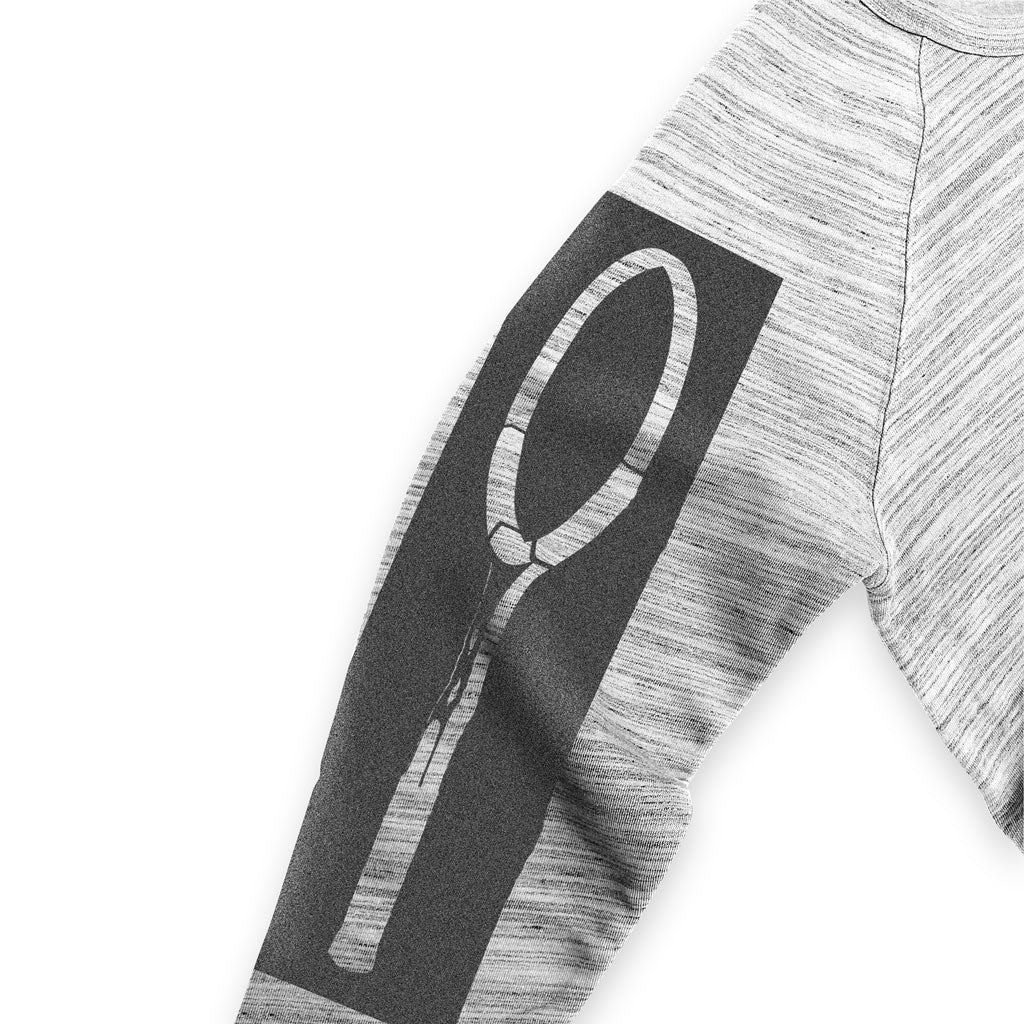 Left sleeve of Stick it Wear?! 'FIRE vs ICE' Tennis Fleece Sweater in marble gray.